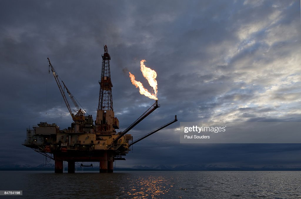 Offshore Oil Rig, Cook Inlet, Alaska : Stock Photo