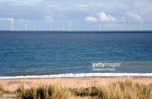 Offshore turbines Scroby Sands wind farm viewed from Caister Norfolk England