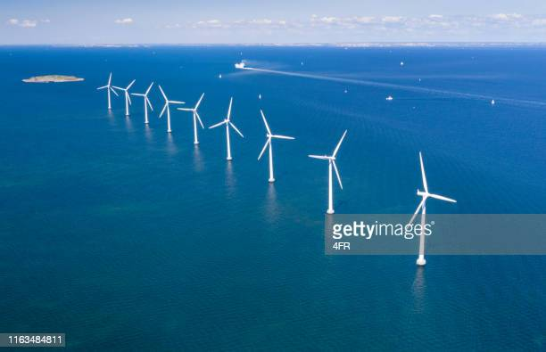 offshore wind farm, copenhagen, denmark - denmark stock pictures, royalty-free photos & images