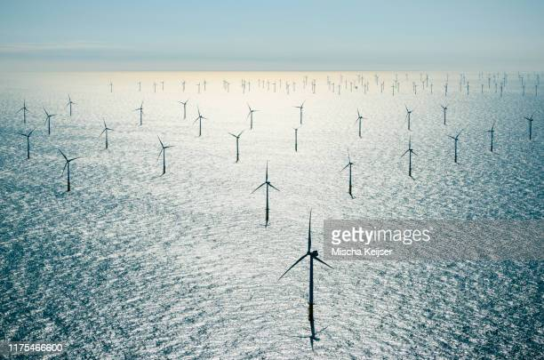 offshore wind farm in the borselle windfield, aerial view, domburg, zeeland, netherlands - climate change stock pictures, royalty-free photos & images