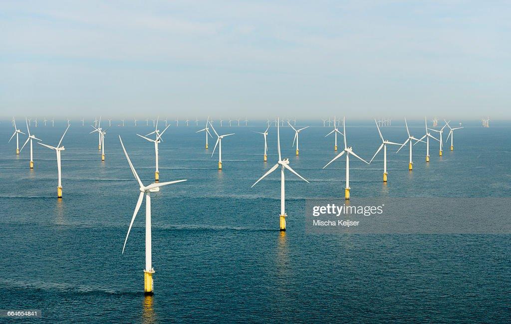 Offshore wind farm, North Sea : Stock Photo