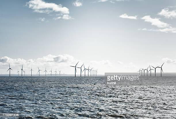 offshore wind farm turbines in the Mersey estuary  near Liverpool