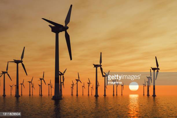 offshore wind turbines at sunset - wind stock pictures, royalty-free photos & images