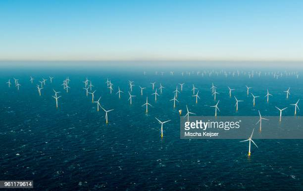 offshore windfarm, domburg, zeeland, netherlands - wind power stock pictures, royalty-free photos & images
