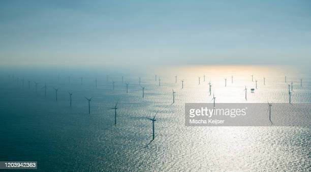 offshore windfarm, north of island of ameland, friesland, netherlands - sustainable energy stock pictures, royalty-free photos & images