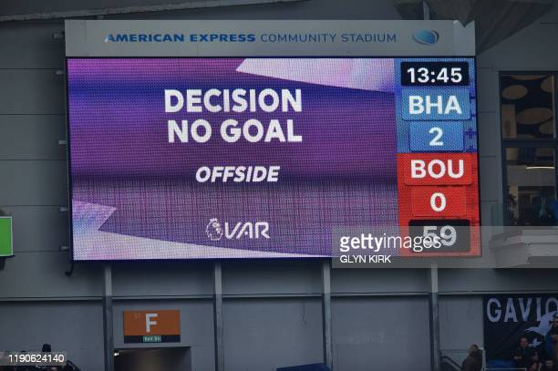 VAR offside decision is displayed for Brighton's English defender Dan Burn scoring his team's second goal during the English Premier League football...
