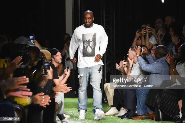 OffWhite Designer Virgil Abloh walks the runway during the OffWhite Menswear Spring/Summer 2019 show as part of Paris Fashion Week on June 20 2018 in...