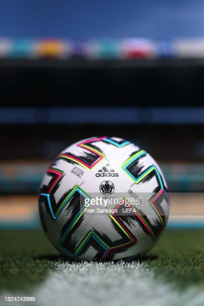 Oficial Adidas match ball is seen prior to the Poland Training Session ahead of the UEFA Euro 2020 Group E match between Spain and Poland at Estadio...