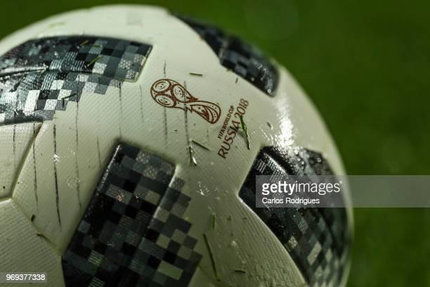 Oficial ball of the World cup 2018 during Portugal vs Algeria International Friendly match at Estadio da Luz on June 7 2018 in Lisbon Portugal