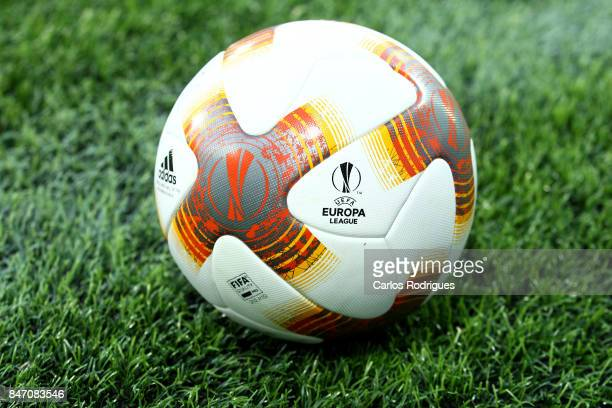 Oficial UEFA Europe League ball during the match between Vitoria Guimaraes and RB Salzburg for UEFA Europa League at Estadio da Dom Afonso Henriques...