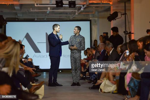 Ofir Fisher and Aviad Arik Herman attend OR Movement Tahor Group Present NYFW Desert Flower by Matan Shaked Keren Wolf and Aviad Arik Herman at 666...