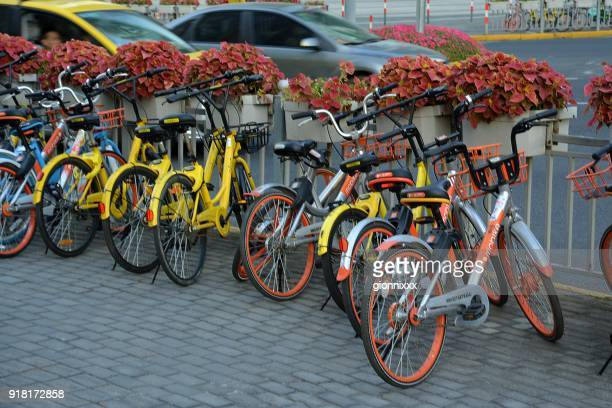 Ofo and Mobike bicycles parked in Lujiazui, Pudong, Shanghai, China