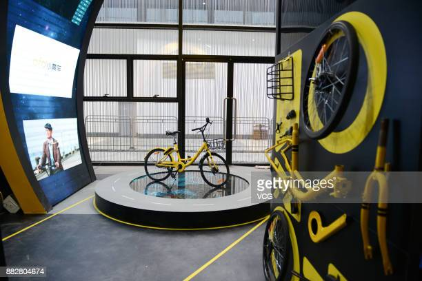 Ofo booth is pictured during the preparation for the upcoming 4th World Internet Conference on November 30 2017 in Tongxiang Zhejiang Province of...