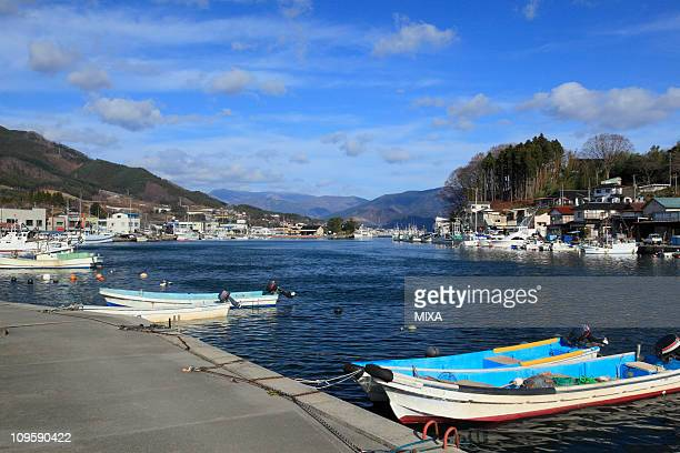 ofunato bay, ofunato, iwate, japan - iwate prefecture stock pictures, royalty-free photos & images
