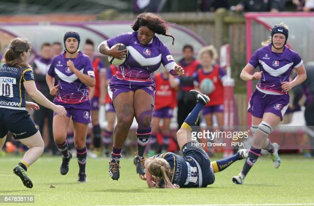 Ofure Ugiagbe of Loughborough Lightning during the Tyrrells Premier 15's match between Loughborough Lightning and Worcester Valkyries at Loughborough...