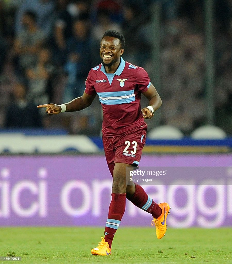 Ogenyi Onazi of Lazio celebrates after scoring a goal (3-2) during the Serie A match between SSC Napoli and SS Lazio at Stadio San Paolo on May 31, 2015 in Naples, Italy.