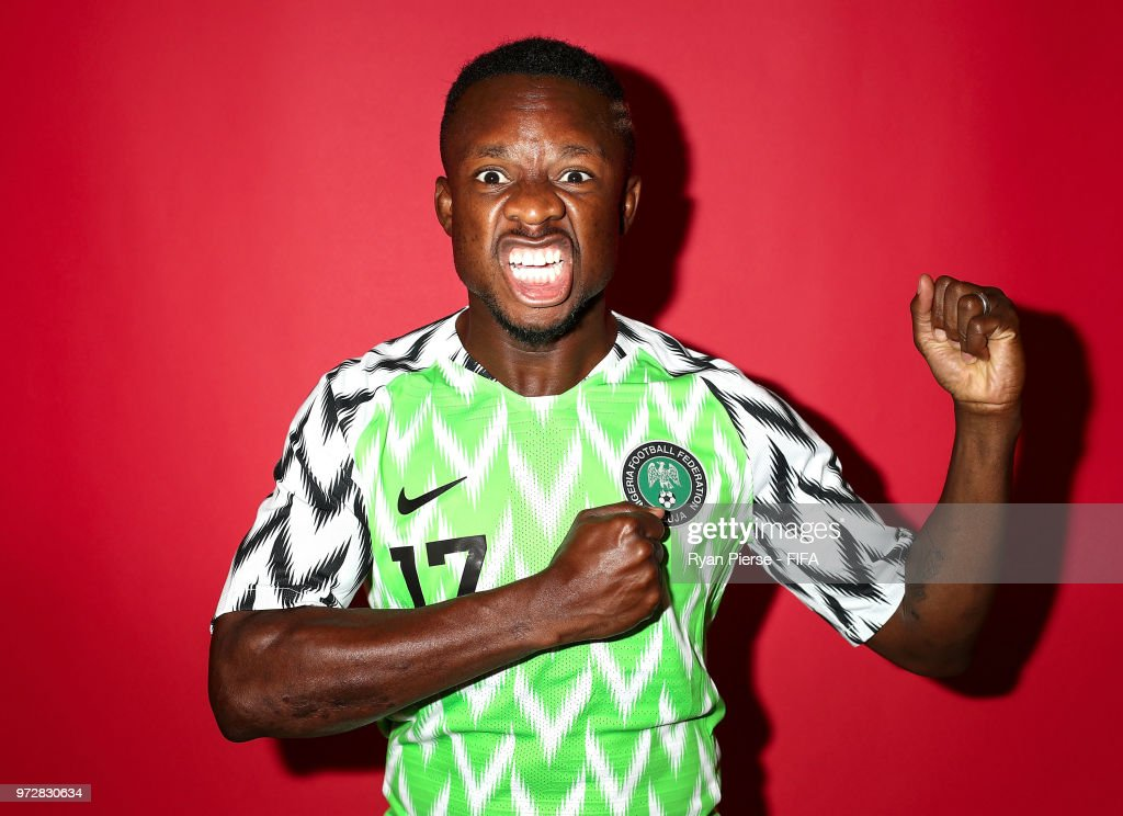 Ogenyi Onazi of Nigeria poses during the official FIFA World Cup 2018 portrait session on June 12, 2018 in Yessentuki, Russia.