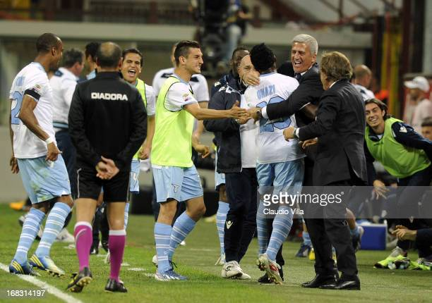 Ogenyi Onazi of SS Lazio celebrates his goal with head coach Vladimir Petkovic during the Serie A match between FC Internazionale Milano and SS Lazio...