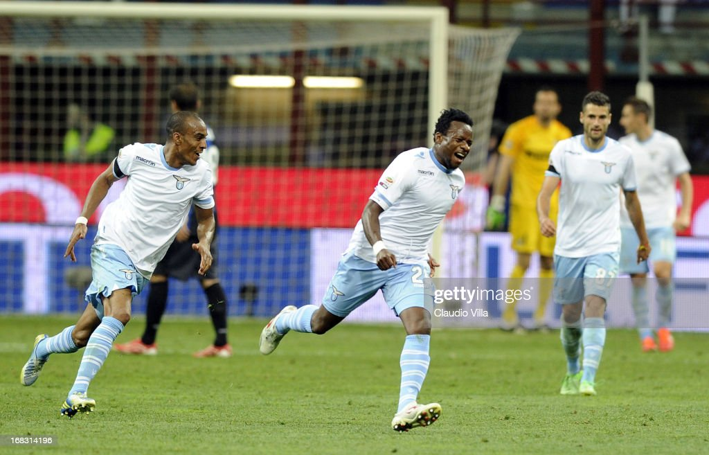 Ogenyi Onazi of S.S. Lazio celebrates scoring the third goal during the Serie A match between FC Internazionale Milano and S.S. Lazio at San Siro Stadium on May 8, 2013 in Milan, Italy.