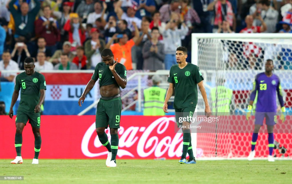 Oghenekaro Etebo, Odion Ighalo, Leon Balogun and Francis Uzoho stand dejected after conceding the opening goal during the 2018 FIFA World Cup Russia group D match between Croatia and Nigeria at Kaliningrad Stadium on June 16, 2018 in Kaliningrad, Russia.