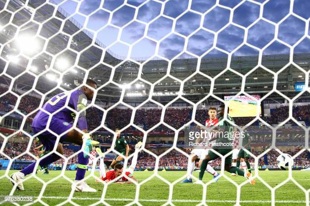 Oghenekaro Etebo of Nigeria scores an own goal for Croatia's first goal during the 2018 FIFA World Cup Russia group D match between Croatia and...