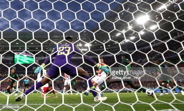 Oghenekaro Etebo of Nigeria scores an own goal past his goalkeeper Francis Uzoho for Croatia's first goal during the 2018 FIFA World Cup Russia group...