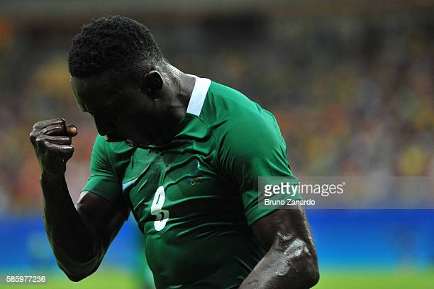 Oghenekaro Etebo player of Nigeria celebrates his goal during 2016 Summer Olympics match between Japan and Nigeria at Arena Amazonia on August 4 2016...
