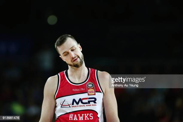 Ogilvy of the Hawks looks on during the round 17 NBL match between the New Zealand Breakers and the Illawarra Hawks at Spark Arena on February 4 2018...