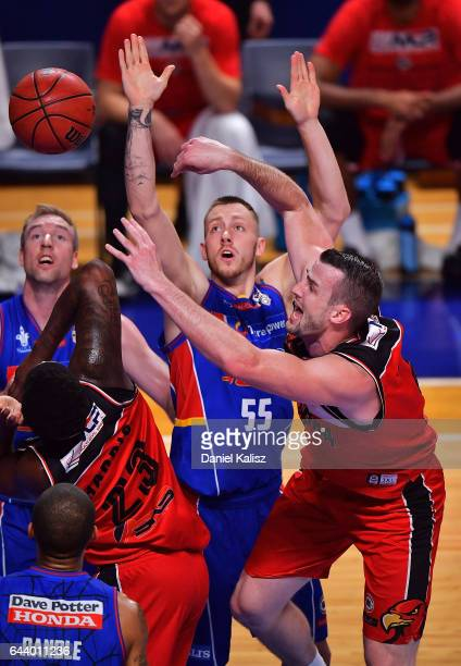 Ogilvy of the Illawarra Hawks passes the ball during game three of the NBL Semi Final series between the Adelaide 36ers and the Illawarra Hawks at...