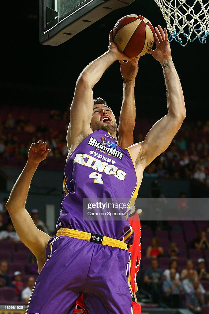 AJ Ogilvy of the Kings drives to the basket during the round three NBL match between the Sydney Kings and the Perth Wildcats at Sydney Entertainment Centre in October 27, 2013 in Sydney, Australia.
