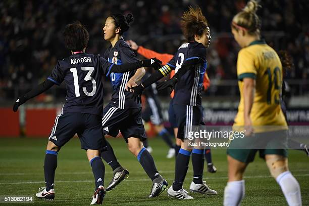 Ogimi Yuki of Japan celebrates 1st goal with Miyama Aya of Japan during the AFC Women's Olympic Final Qualification Round match between Australia and...