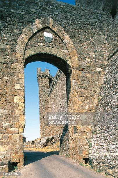 Ogival arch giving access to Montalcino Fortress, Val d'Orcia Park of Art, Nature and Culture , Tuscany, Italy, 14th century.