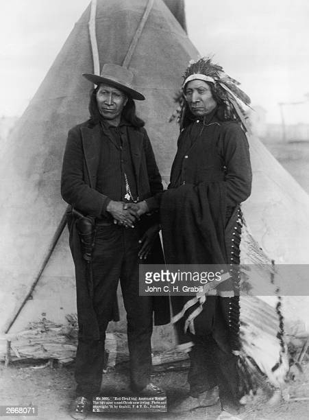 Oglala Sioux chiefs Red Cloud and American Horse in Deadwood, South Dakota. Red Cloud opposed the US army's proposition to build a fort and roads...