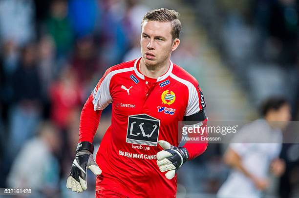 Ogmundur Kristinsson goalkeeper of Hammarby IF during the Allsvenskan match between Hammarby IF and Malmo FF at Tele2 Arena on May 18 2016 in...