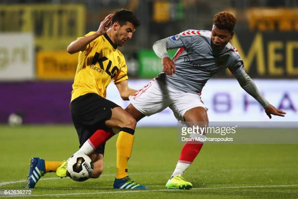 Ognjen Gnjatic of Roda JC battles for the ball with Joey Groenbast of Go Ahead Eagles during the Dutch Eredivisie match between Roda JC and Go Ahead...