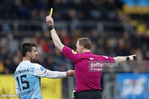 Ognjen Gnjatic of Roda JC referee Ed Janssen during the Dutch Eredivisie match between NAC Breda and Roda JC Kerkrade at the Rat Verlegh stadium on...