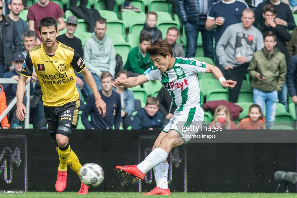 Ognjen Gnjatic of Roda JC, Ritsu Doan of FC Groningen during the Dutch Eredivisie match between FC Groningen v Roda JC at the NoordLease Stadium on April 15, 2018 in Groningen Netherlands