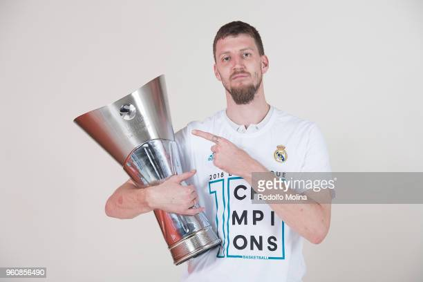 Ognjen Kuzmic #32 of Real Madrid poses 2018 Turkish Airlines EuroLeague F4 Champion Photo Session with Trophy at Stark Arena on May 20 2018 in...