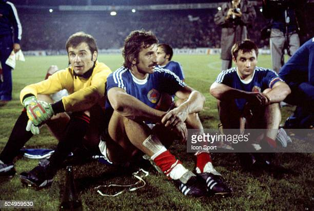 Ognjen Petrovic and Josip Katalinski of Yugoslavia during the European Championship match between West Germany and Yugoslavia in Stadium Crvena...
