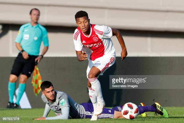 Ognjen Vranjes of Anderlecht David Neres of Ajax during the Club Friendly match between Ajax v Anderlecht at the Olympisch Stadion on July 13 2018 in...