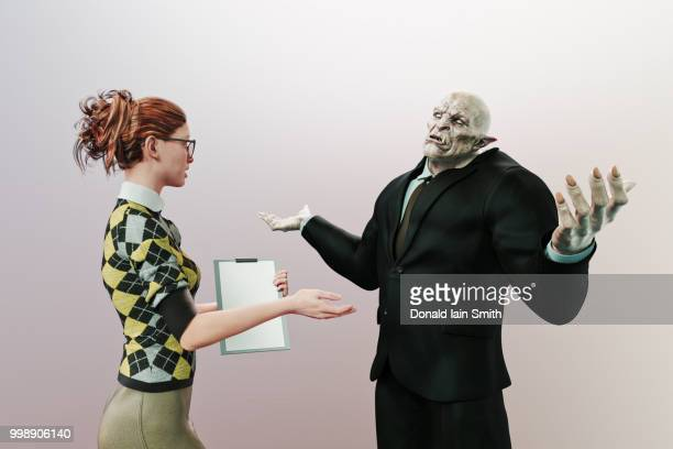 Ogre businessman with arms raised talks to office woman with clipboard