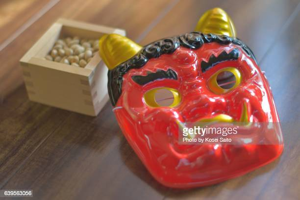 """A ogre mask and soybeans for """"Setsubn"""""""