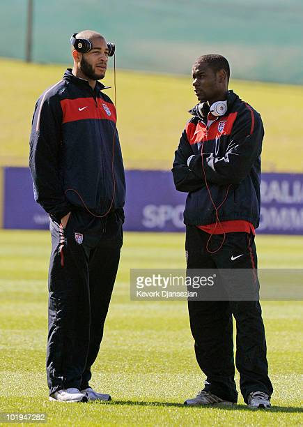 Oguchi Onyewu and Maurice Edu of USA prior to the start of the 2010 FIFA World Cup PreTournament match against Australia at Ruimsig Stadium on June 5...