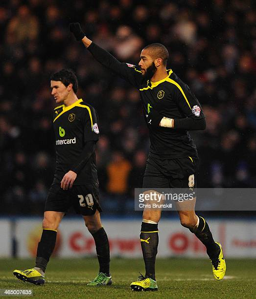 Oguchi Onyewu of Sheffield Wednesday celebrates scoring his side's second goal during the FA Cup with Budweiser Fourth Round match between Rochdale...
