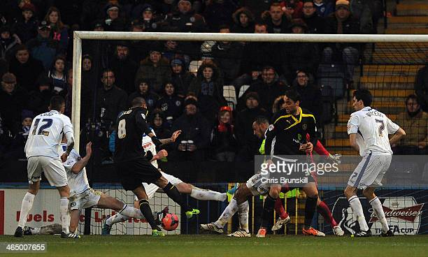 Oguchi Onyewu of Sheffield Wednesday scores their second goal during the FA Cup with Budweiser Fourth Round match between Rochdale and Sheffield...
