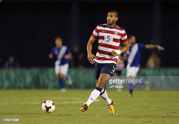 Oguchi Onyewu of the USA passes the ball against Guatemala at Qualcomm Stadium on July 5 2013 in San Diego California