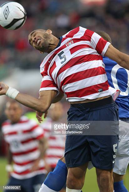 Oguchi Onyewu of USA heads the ball against Canada during their international friendly match on June 3 2012 at BMO Field in Toronto Ontario Canada