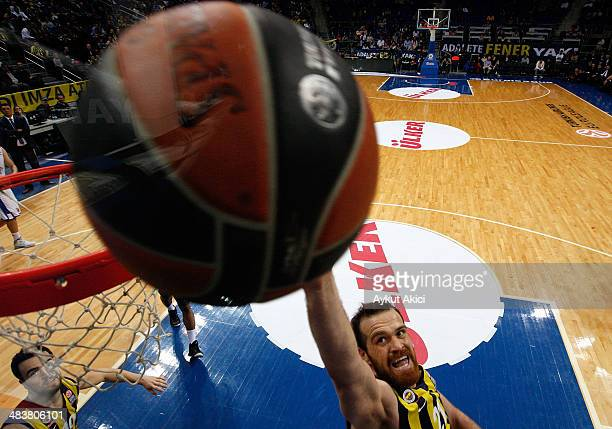 Oguz Savas #21 of Fenerbahce Ulker Istanbul in action during the 20132014 Turkish Airlines Euroleague Top 16 Date 14 game between Fenerbahce Ulker...