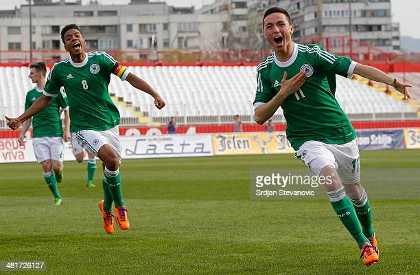 Oguzhan Aydogan of Germany celebrates scoring a goal during the UEFA Under17 Elite Round between Serbia and Germany at Stadion Karadjordje on March...