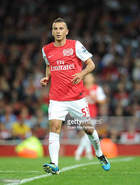 Oguzhan Ozyakup of Arsenal during the Carling Cup Third Round match between Arsenal and Shrewsbury Town at Emirates Stadium on September 20 2011 in...
